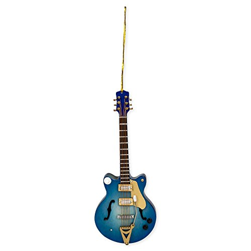 Navy Electric Guitar Music Instrument Replica Christmas Ornament, Size 5 inch -