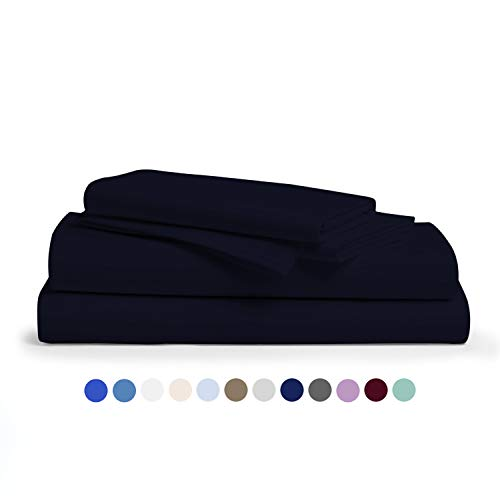 Premium 1000 Thread Count 100% Egyptian Cotton Sheet Set - Hotel Collection 4-Pc Best Navy Blue King Sheets for Bed with 2 Pillowcases for Kids & Adults - Soft, Deep Pocket Fits Mattress Upto 18''