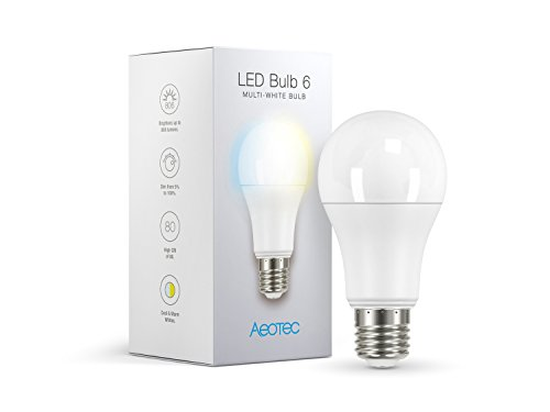 Aeotec LED Bulb 6 Multi-White, Z-Wave Plus S2, Dimmable & Tunable Daylight & Warm Light, 60 watt Incandescent Equivalent,E26 Base