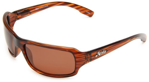 Hobie Malibu Rectangle Sunglasses,Brown Wood Grain Frame/Copper Lens,One -