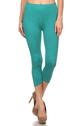 (Leggings Mania Women's Solid Colored Capri Leggings Regular One Size Teal)