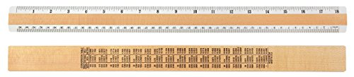 "18"" Inches & Metric 2 Bevel Wood Ruler"