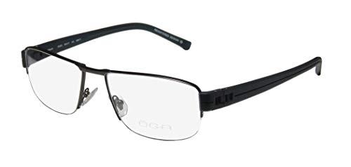 Oga By Morel 7925o For Men Designer Half-rim Spring Hinges European Design Classy Spectacular Eyeglasses/Eyeglass Frame (56-17-140, Black/Navy) (Gold-designer-brille)