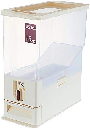 米びつ 保存容器 ライス保存容器、ライスディスペンサー、ライスビンコンテナ測定可能ライスシリンダーキッチンドライフードライスディスペンサープラスチック容器自動ディスペンサー主催の設定 米粉シリアルキッチン収納用 (Color : Beige, Size : 38X16.5X44.5CM)