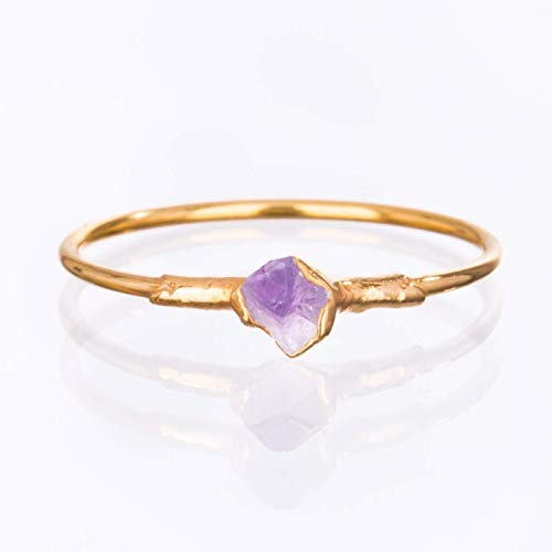 - Raw Amethyst Ring, Yellow Gold, Size 8 Mini Stacking Ring, February Birthstone