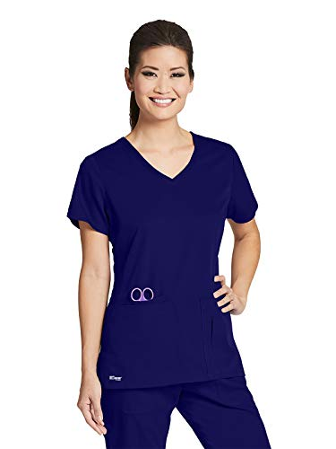 Grey's Anatomy 41423 Women's 4 Pocket Solid Side Panel V-Neck Scrub Top Vivid Violet M