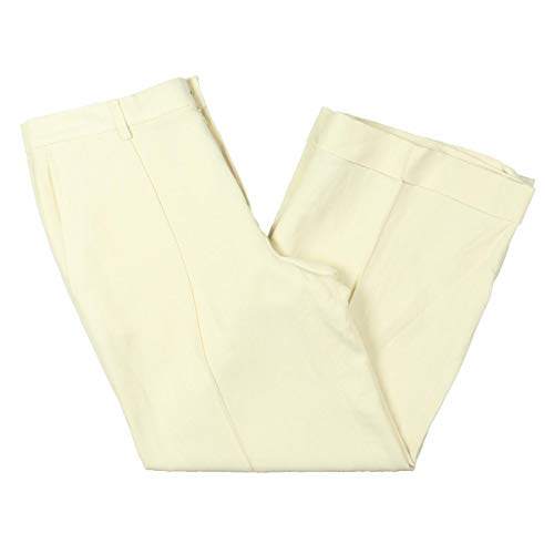 (Lauren Ralph Lauren Womens Winsley Linen Blend Wide Linen Pants Ivory 6)