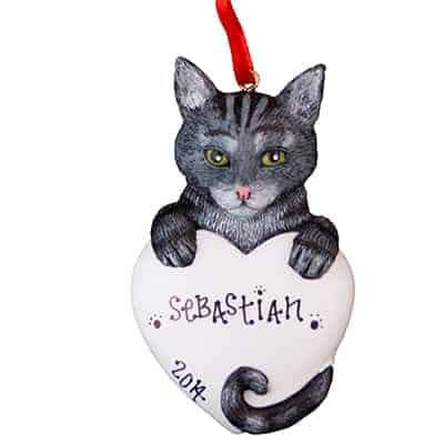 Gray Tabby Cat Personalized Ornament - (Unique Christmas Tree Ornament - Classic Decor for A Holiday Party - Custom Decorations for Family Kids Baby Military Sports Or Pets)