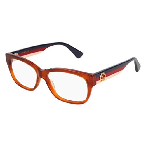 Gucci GG 0278O 003 Light Havana Plastic Rectangle Eyeglasses 53mm