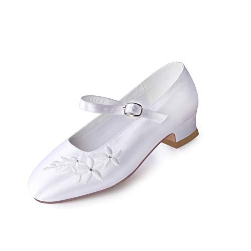 ERIJUNOR E1417 White Communion Shoes Comfortable Flower Girls Dressy Shoes Dyeable Satin Size 12