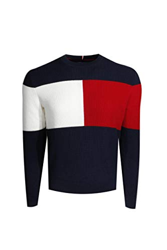 Tommy Hilfiger Mens Cable Knit Crewneck Sweater (XL, Navy)