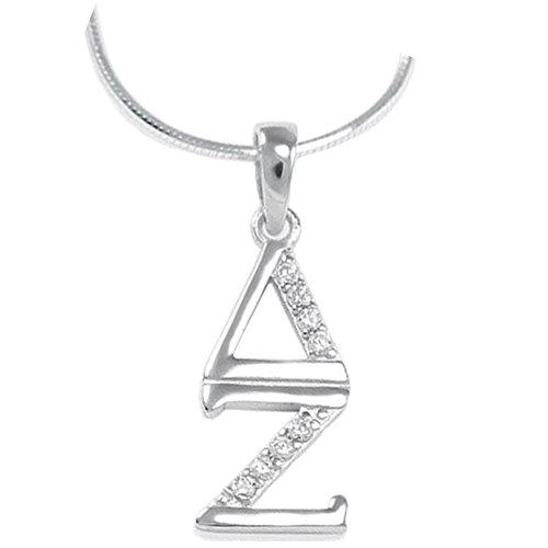 Greekgear Delta Zeta Sterling Silver Lavaliere Set with Lab-Created Diamonds