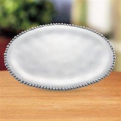 Lenox Organics Bead Oval Tray, Silver