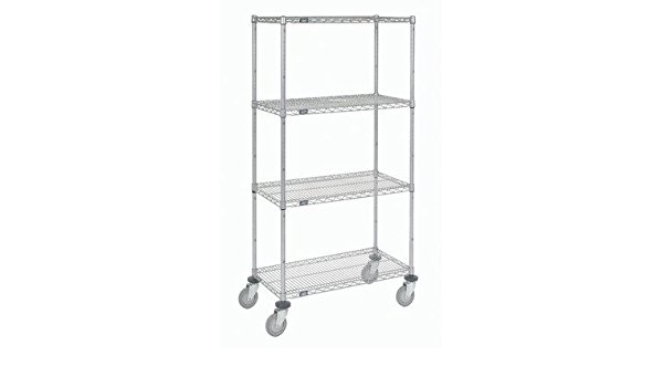 Amazon Com Wire Shelf Stem Caster Truck 4 Shelf Shelving Unit Finish Poly Z Brite Size 72 H X 60 W X 24 D Office Products