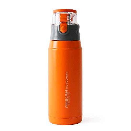 - Meigix Vacuum Insulated Water Bottle Double Wall Stainless Steel Thermos Travel Mug With Leak Proof Lid For Hot & Cold Drinks Gift Tumbler PJ-3504 22oz (Orange/Transparent)
