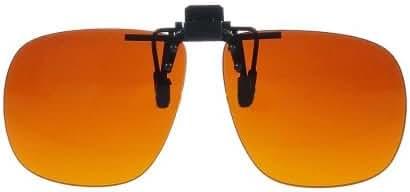 Polycarbonate Clip On Flip up Blue Blocking Amber Sunglasses 58mm x 50mm
