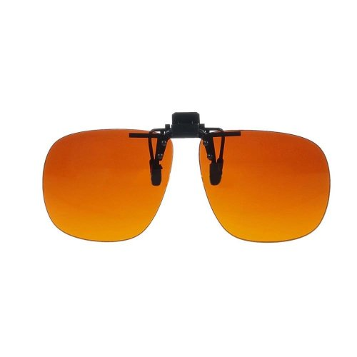 Polycarbonate Clip On Flip up Blue Blocking Amber Sunglasses 58mm x 50mm ()