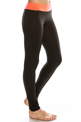 EttelLut Workout Yoga workout leggings with pockets and tummy control Black/Coral L