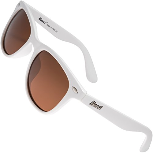 Rivacci Men Women Wayfarer White Frame / Brown Lens Classic Retro Polarized - Wayfarers White