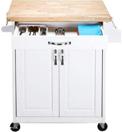 Mainstays Kitchen Island Cart, White. This Stylish Kitchen Furniture Has a  Solid Wood Top. Kitchen Island SALE!! Drawer and Cupboard Provide All Your  ...