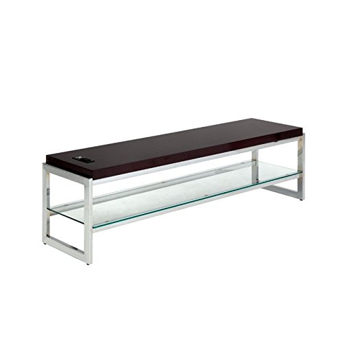 HOMES: Inside + Out Fleur TV Stand, Chrome Chrome Contemporary Tv Stand