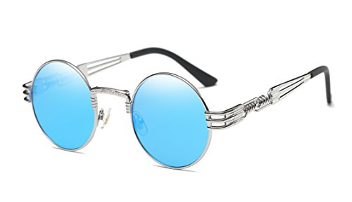 GAMT Vintage Steampunk Round Sunglasses Circle Metal Frame Mirror Lens for Men - Lenses Blue Circle