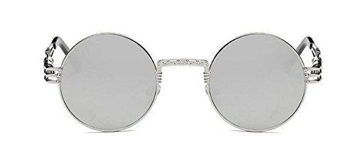 inspirées soleil Réfléchissant en vintage retro métallique de Blanc polarisées du lunettes rond cercle style Lennon t6ZxTU