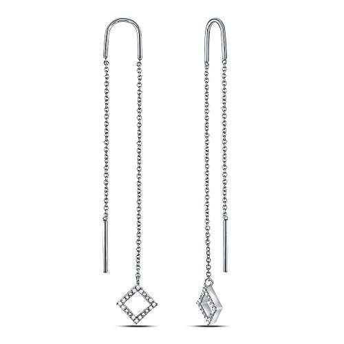 The Diamond Deal 10kt White Gold Womens Round Diamond Threader Square Dangle Earrings 1/10 Cttw