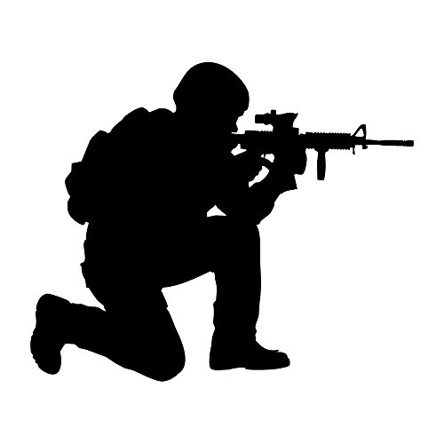 Auto Vynamics - MILITARY-SOLDIER08-3-MBLA - Matte Black Vinyl Military Soldier Silhouette Decal - Crouched w/ Gun 02 Design - 3-by-2.5-inches - (1) Piece Kit - Single Decal