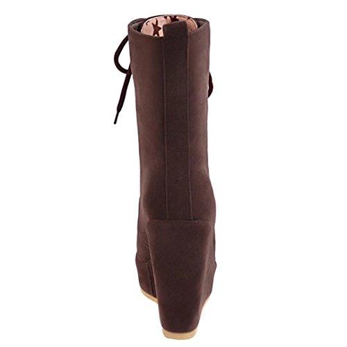 AIYOUMEI Damen Winter Keilabsatz Stiefeletten mit Schnürung Kurzschaft Stiefel mit Kurzer Plüsch Braun