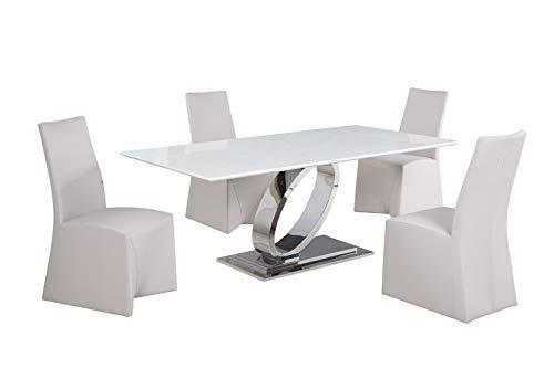 (Milan JANAINA-5PC Janaina Dining Set, 5-Piece, White)