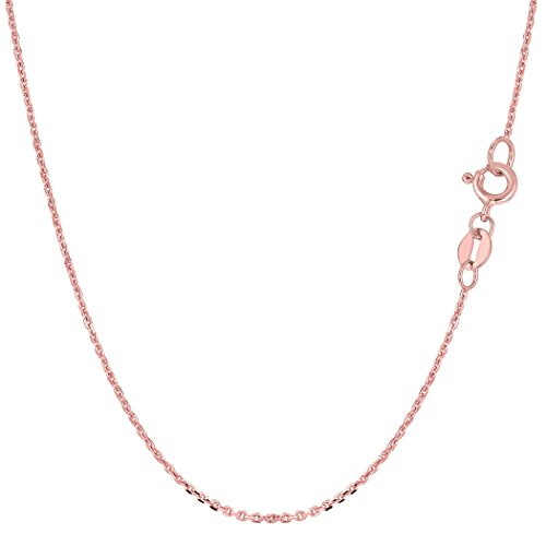 14k Rose Gold Cable Link Chain Necklace, 0.5mm, (14k Real Gold Cable Chain)
