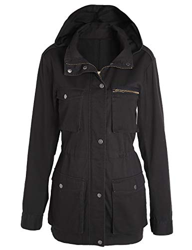 Escalier Women's Anorak Jacket Lightweight Drawstring Hooded Military Parka Coat (Large, Black)