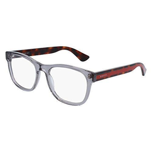 Gucci GG 0004O 004 Transparent Light Grey Plastic Square Eyeglasses - Frames Mens Gucci Glasses