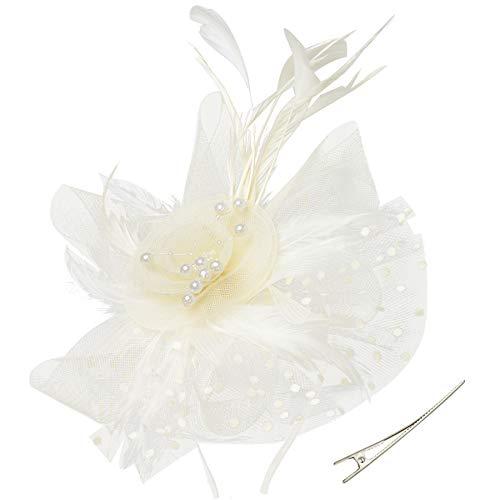 (BABEYOND Bridal Wedding Fascinator Mesh Feather Fascinator Hair Clip Tea Party Fascinator Veil Crystal Wedding Veil)