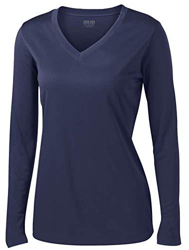 (Joe's USA Ladies Long Sleeve Moisture Wicking Athletic Shirts, True Navy, XL)