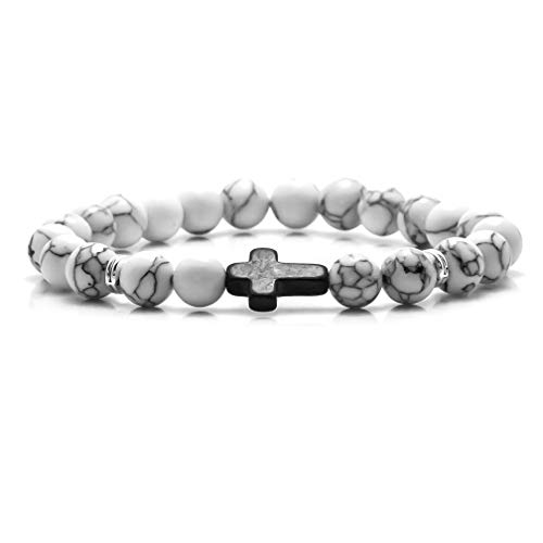 Fusamk Cross Turquoise Bracelet Natural Stone Onyx Beads Elastic Bracelet,7.5