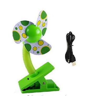 Alytimes Safety Baby Clip-On Mini Stroller Fan USB Battery Dual Crib Cooling Fans -(Green) by Alytimes