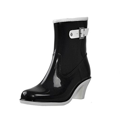 Dear Time Women Buckle High Heels Rain Boots Black JLCrXmP20I