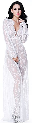 (QinMi Lover Women's Lace Vestidos V Neck Long Sleeve Cover Up See-Through Beach Dress,White)
