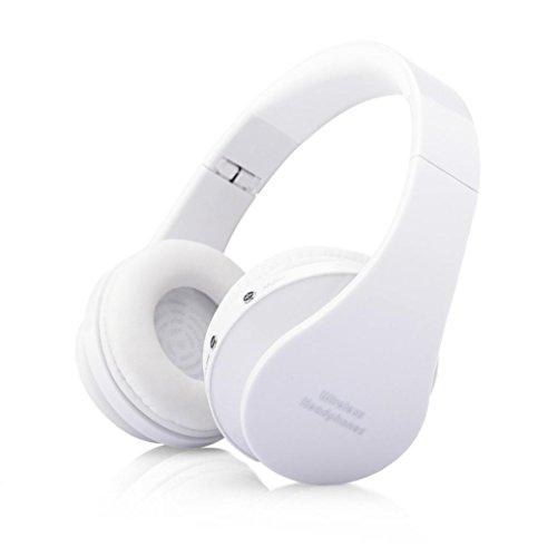 Mokao Foldable Wireless Bluetooth Stereo Headset Mic (White)