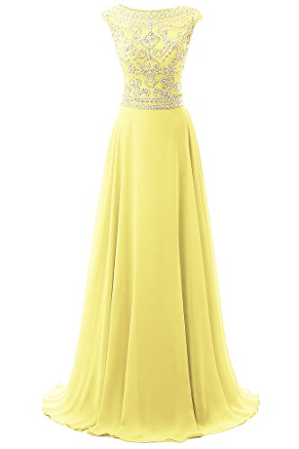 Dresstore Women's Long Chiffon Bridesmaid Dress Cap Sleeves Beaded Prom Eveing Gown Yellow US 24Plus -
