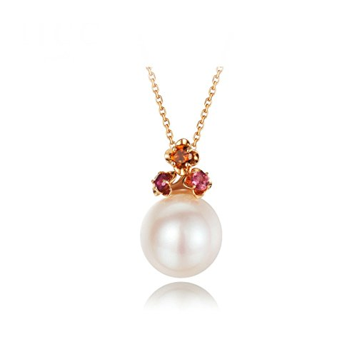 Daesar 18K Gold Necklace For Women Natural Freshwater Pearls Pendant Necklace Rose Gold Chain Length:40CM by Daesar