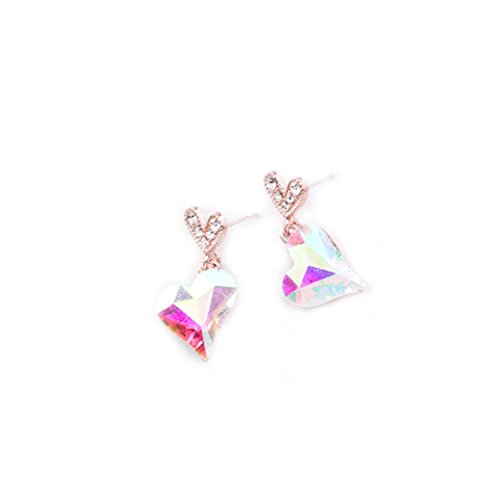 Diamond Encrusted Hoop - DENER Women Ladies Girls Earrings,love heart Diamond-encrusted Piercing Ear Clips Stud Hoop Dangle Drop Eardrop Earrings (Multicolor)