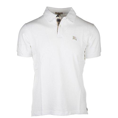 Burberry Men's Solid White Short Sleeve Cotton Pique Logo Basic T-shirt Polo (2xl)