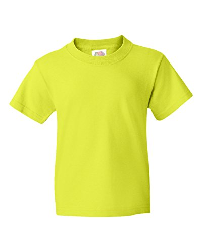 FOL 3930B Youth Heavy Cotton T-Shirt, Safety Green, Large