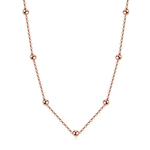 Choker Necklace Rose Gold over 925 Sterling Silver Satellite Beaded Chain 13-15