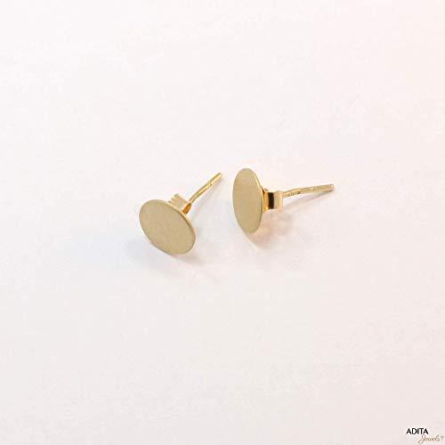 Yellow Dot Gold (14K Gold Circle Studs - 14K Solid Yellow Gold Stud Earrings, Small 5mm Minimalist Plain Dot, Dainty Geometric Round Circles, Mini Flat Disc Minimalist Handmade Earrings for Girls and Gentle Women)