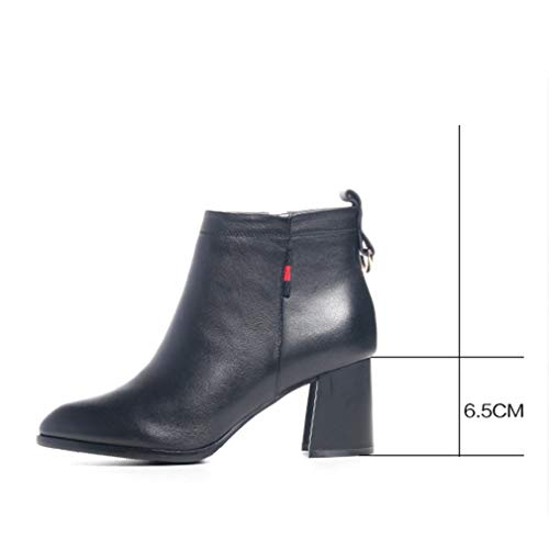Ásperas Otoño Moda Puntiaron Señoras Del Yan Invierno Tacón Zapatos Cuero Botas De Mujeres Las Tobillo Alto Negro fSxgwOqv