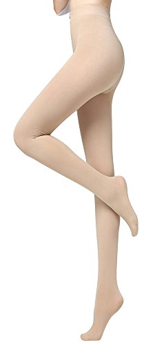 DB MOON Women's Cozy Opaque Control-Top Footed Tights(Beige) ()